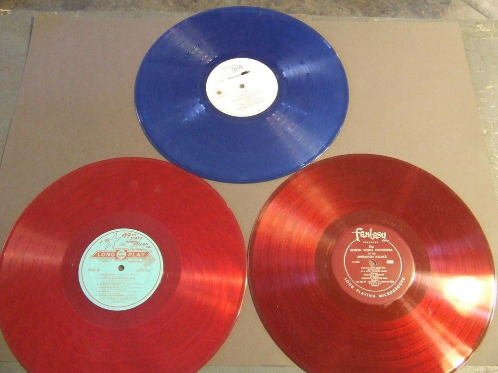 3 Colored Vinyl Record Lp Lor For Crafts Decorations 2 Reds And A Blue C 10 Diy Vinyl Vinyl Records Vinyl