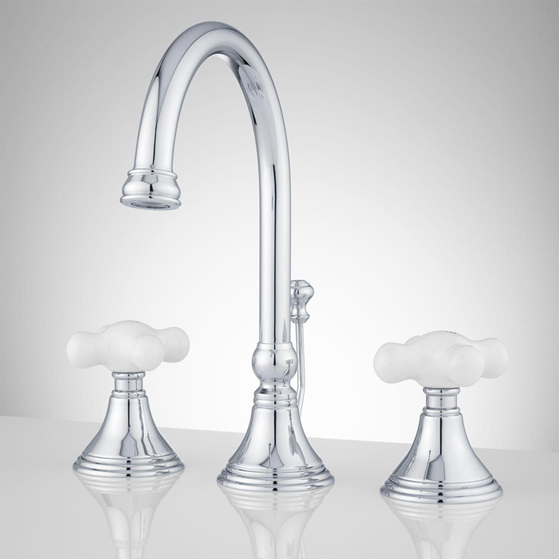 Melanie Widespread Gooseneck Bathroom Faucet Large Porcelain Cross Handles Nauticalbathr Bathroom Faucets Widespread Bathroom Faucet Bathroom Faucets Chrome [ 1500 x 1500 Pixel ]