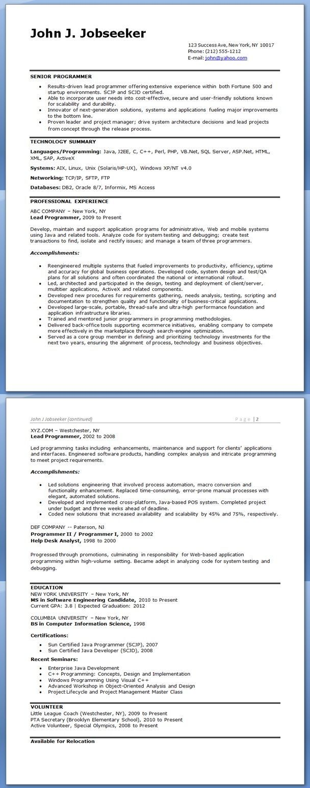 Computer Programmer Resume Examples Looking For Teaching Resume
