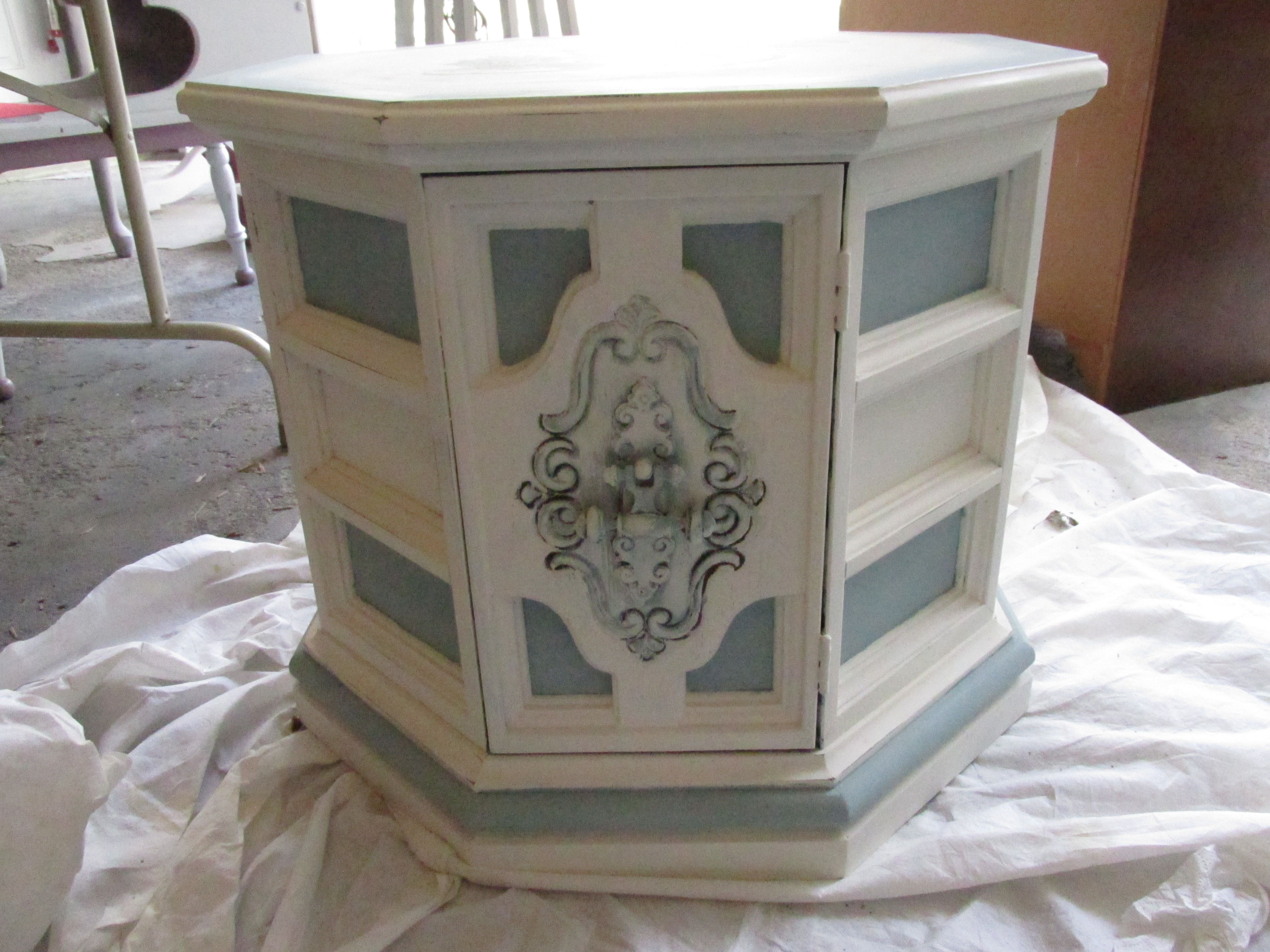 Octagon End Table, Painted And Distressed With AS Old