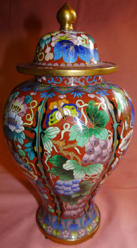 "Vtg Oriental Brass Cloisonne Enamel Ginger Jar Vase Urn Butterfly Flower 11"""