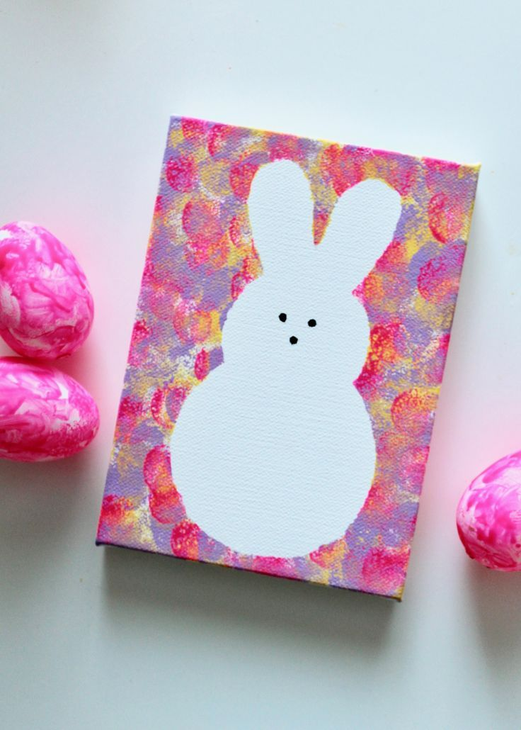 Photo of DIY Kids Peeps Bunny Canvas Art, #Bunny #DIY #homeschoolingideaspreschool #Kids #Art # …