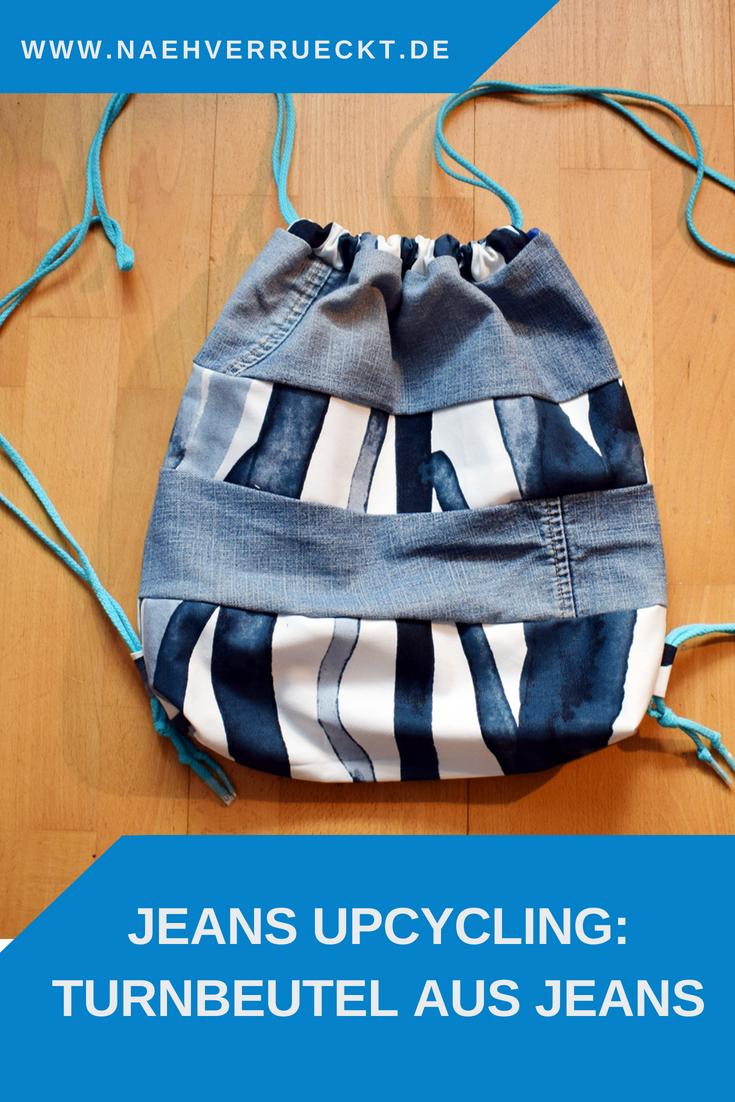 Turnbeutel aus Jeans nähen – Jeans Upcycling | nähverrückt