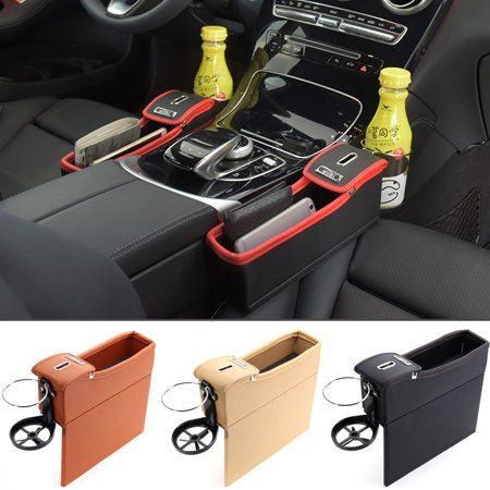 PU Car Seat Storage Box Coin Tidy Organizer Cellphone Bottle Holder Right Side - Walmart.com