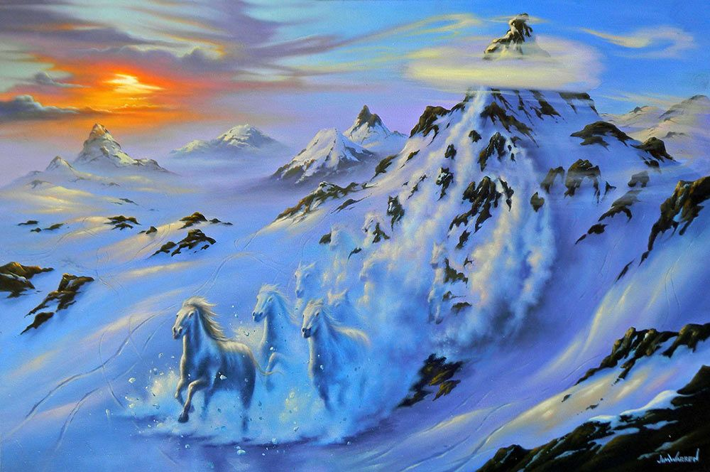 Mystic Mountain * Artist Jim Warren Fantasy Myth Mythical Mystical Legend Elf Elves Dragon Dragons Fairy Fae Wings Fairies Mermaids Mermaid Siren Dragon Dragons Siren Sword Sorcery Magic Witch Wizard Whimsy Valkyrie Humor Funny Cute Hidden Surreal