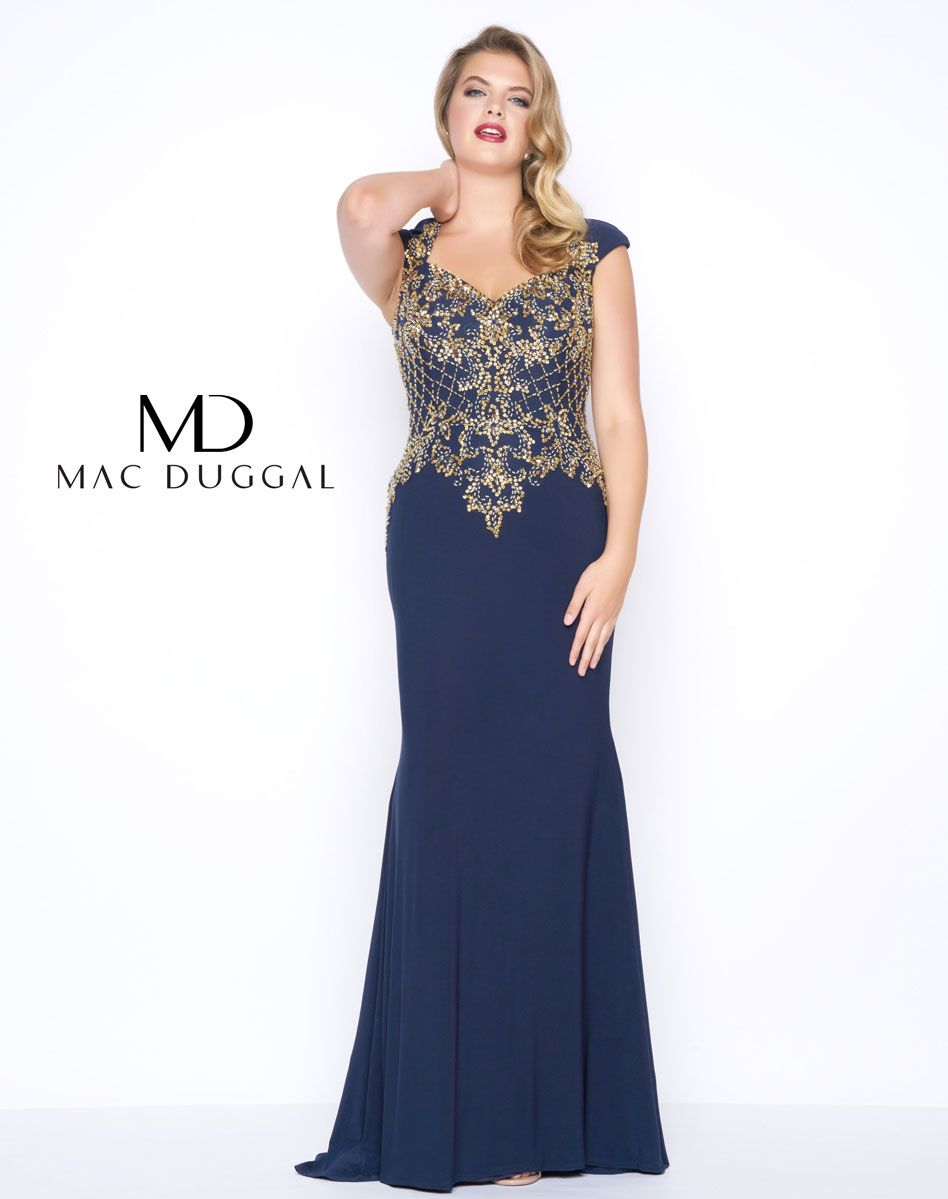 This Midnight Blue plus size formal gown with embellished gold and silver  beads will shine in the light and have everyone turning their heads. b512f3f96