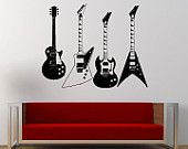 Four Electric Guitars Collection Music Rock Instrument Wall Decal Sticker Vinyl Mural Leaving Bedroom Room Home Decor FREE SHIPPING L371