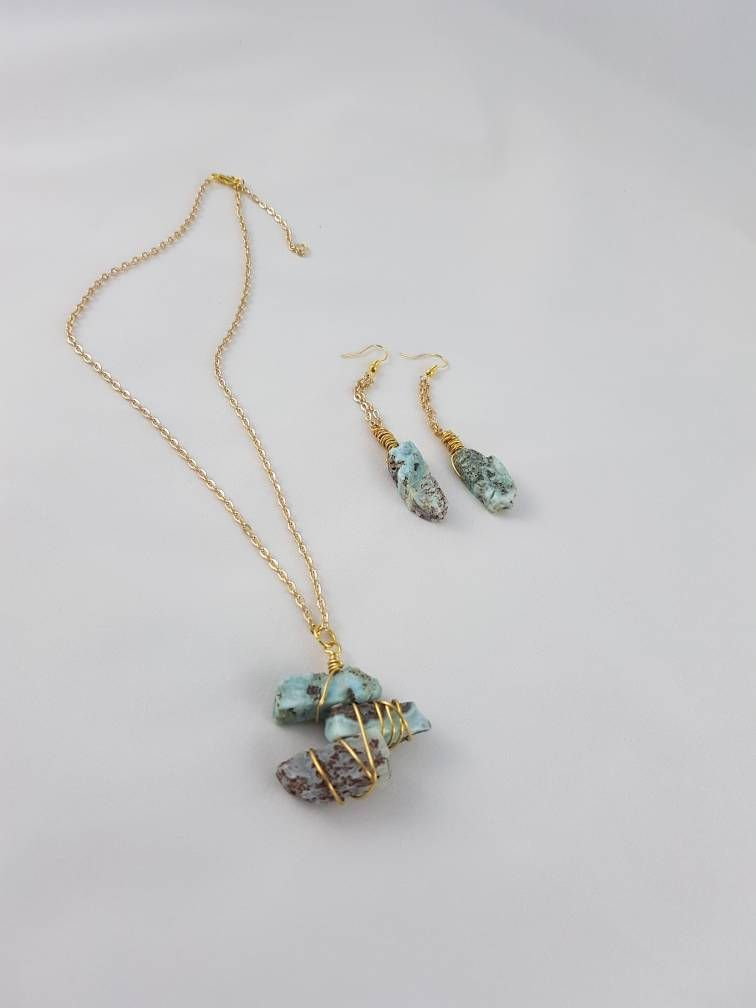 Aquamarine Set Necklace Earrings Dangles Gold Gem By Excentriquebyfitnat