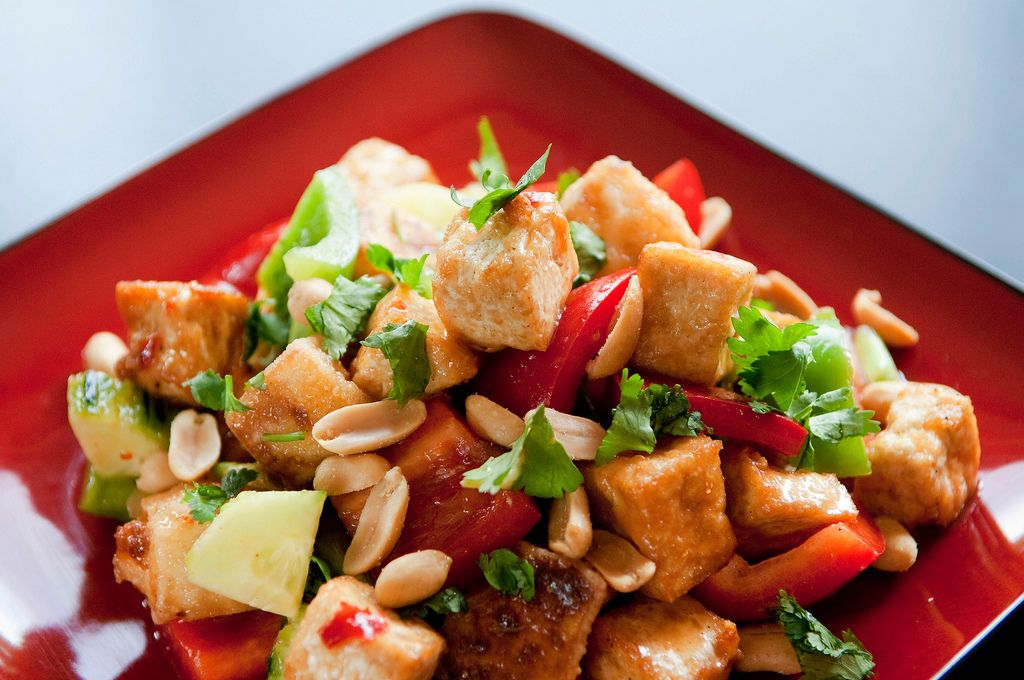 Tofu Peanut Salad.  I had something like this at a school potluck today and I had to come home and Google it because it was AMAZING!