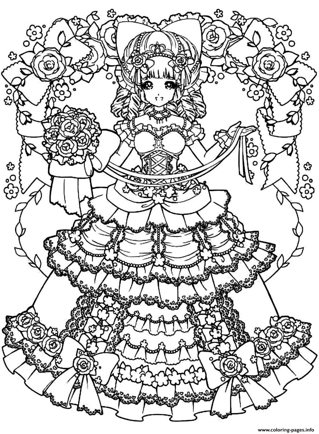 print adult back to childhood manga girl dress coloring pages