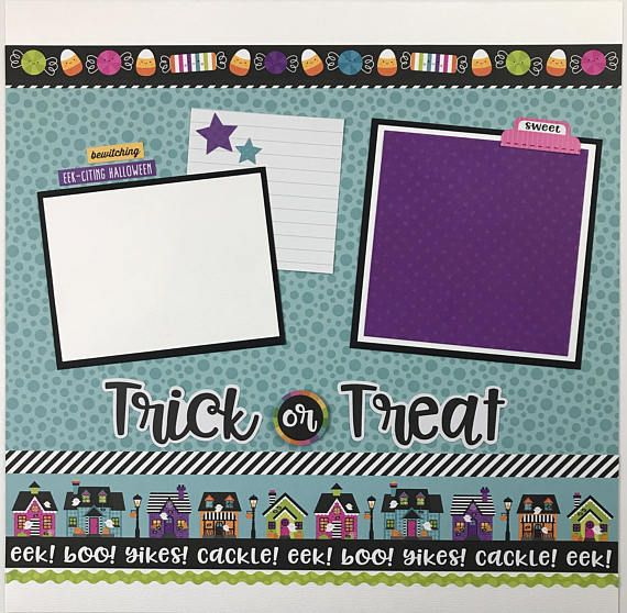 Halloween scrapbook page kit or premade eight pages 12x12 pages pre halloween scrapbook page kit or premade eight pages 12x12 pages pre cut with instructions this is a pre cut do it yourself scrapbook kit that inclu solutioingenieria Image collections