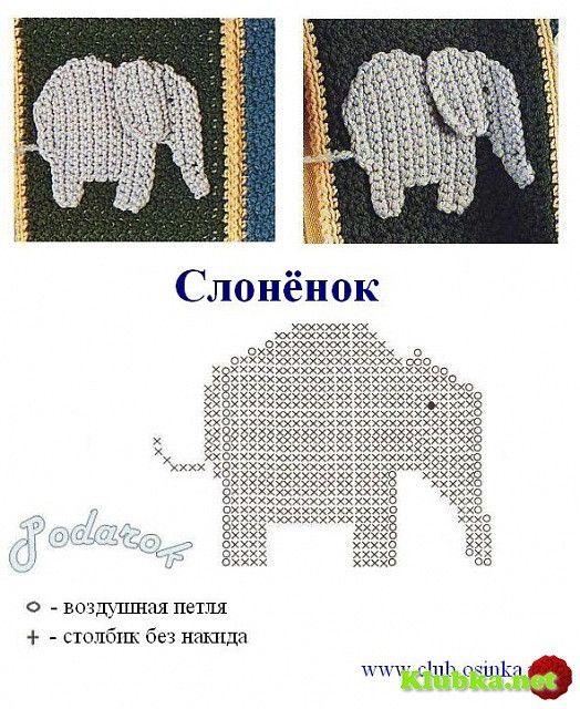 elefante | tejidos crochet | Pinterest | Elefantes, Apliques y Tejido
