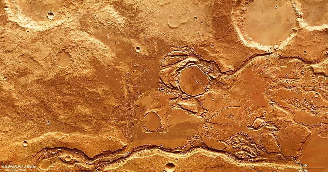 """""""#MarsTime once again!  This image is part of the Mangala Valles outflow channel system close to Minio Valles. It was acquired by the High Resolution…"""""""