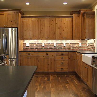 Backsplash tile with knotty alder cabinets knotty alder for Alder shaker kitchen cabinets