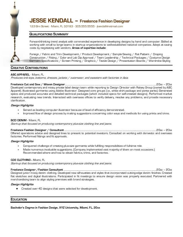 Fashion Designer Resume Objective Examples