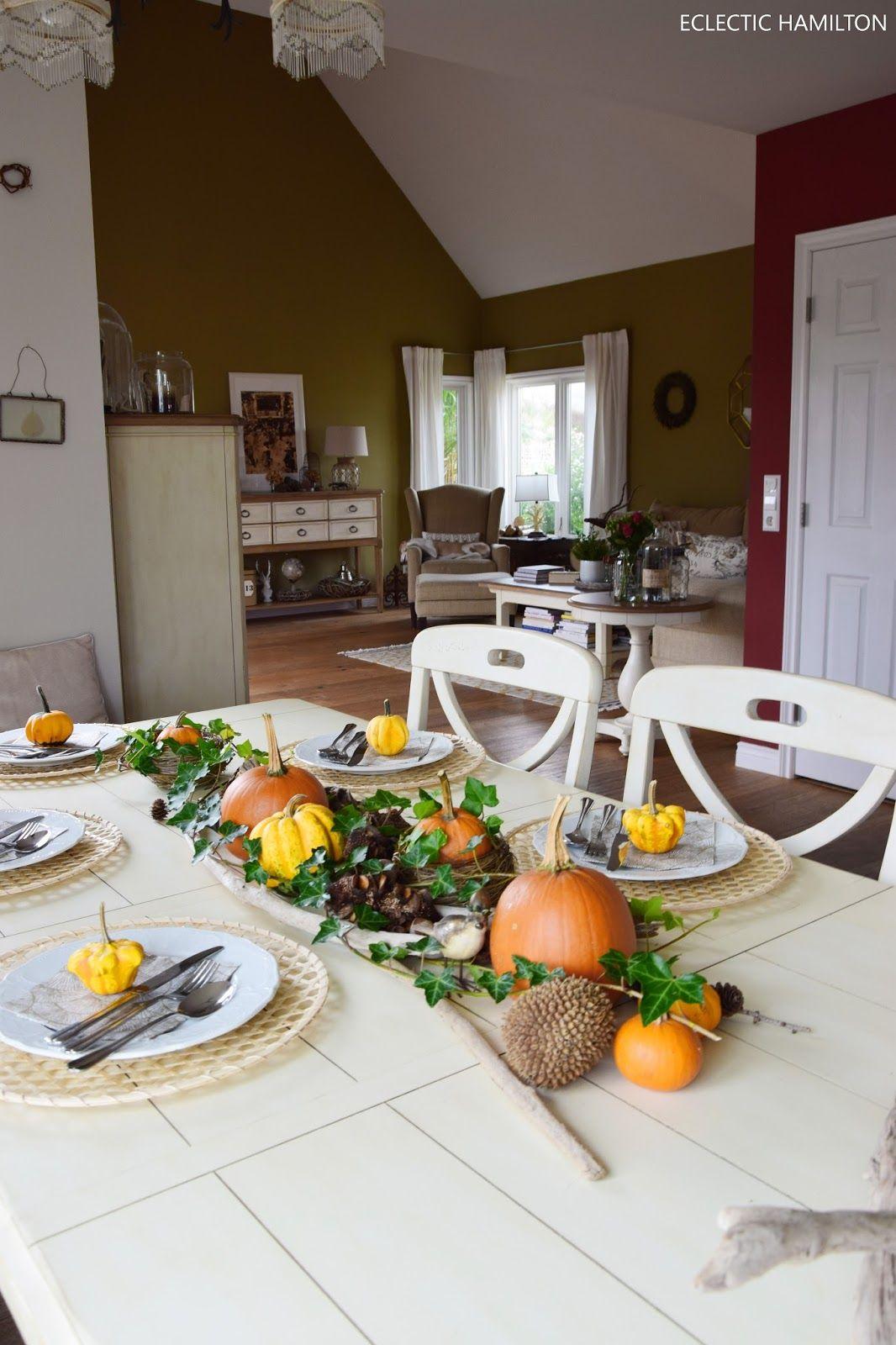 Herbstliche tischdeko mit k rbissen mein blog eclectic - Blog wohnen dekorieren ...