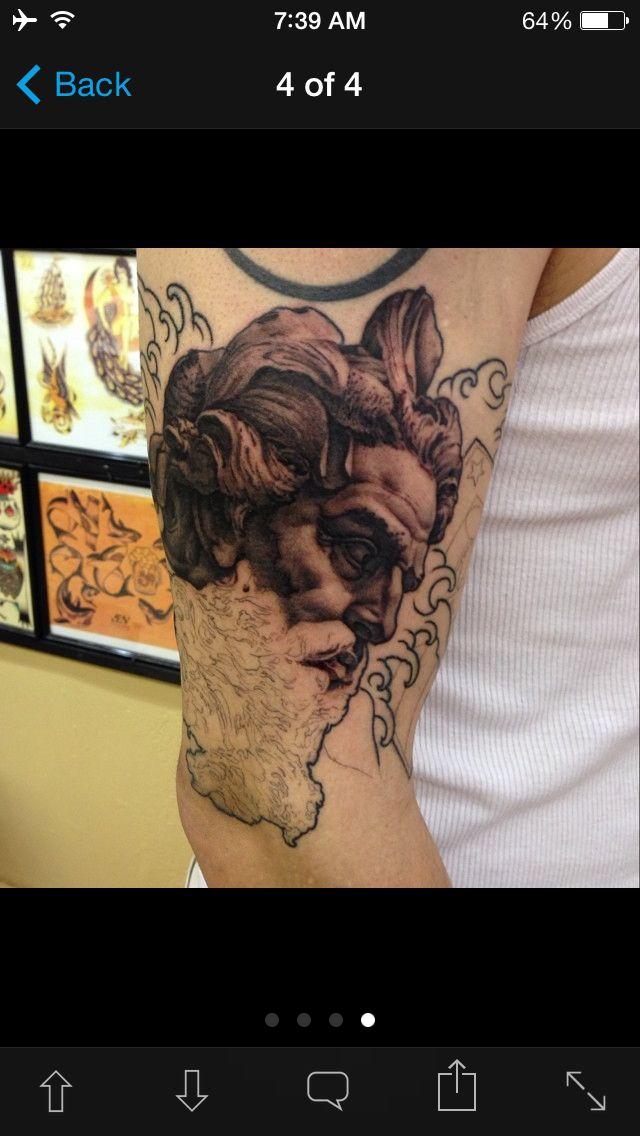 Neptune Half Sleeve Poseidon Tattoo Tattoos Portrait