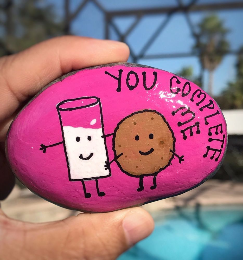 Valentines Day Hand Painted River Rock Stone Art Food Funny Milk Cookie Painted Rock Animals Pet Rocks Painted Rocks