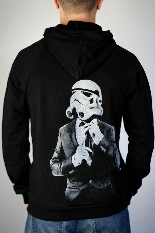Men's zip up hoodie sweatshirt, Smart Trooper star wars unisex shirt, stormtrooper art hoodie, graphic hoodie for him, gift for boyfriend