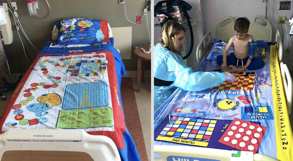 Dad Turns Board Games into Bed Sheets So Sick Kids Lying