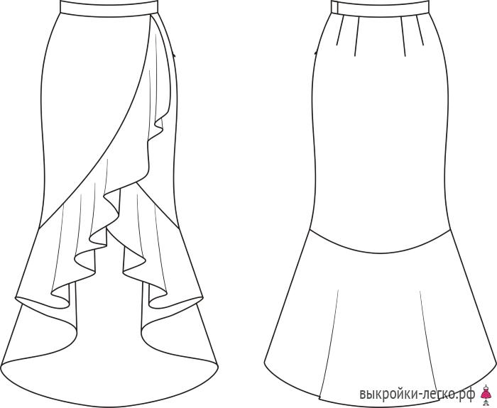 Выкройка юбки-палаццо (р-р 40-64) | Шить просто — Выкройки-Легко.рф ...