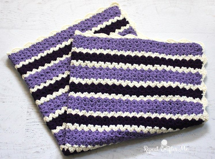 Crochet Cluster V-Stitch Striped Blanket with Shell Border - Repeat ...