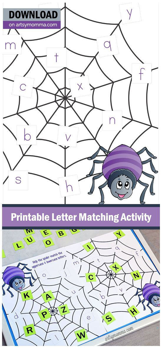 Printable Spider Web Letter Match Activity | Spider webs, Spider and ...
