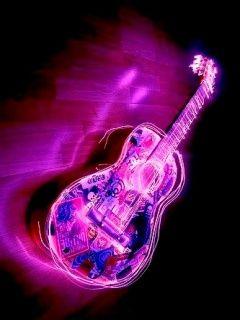 Hd Purple Guitar In Dark Mobile Phone Wallpapers Phone Wallpaper