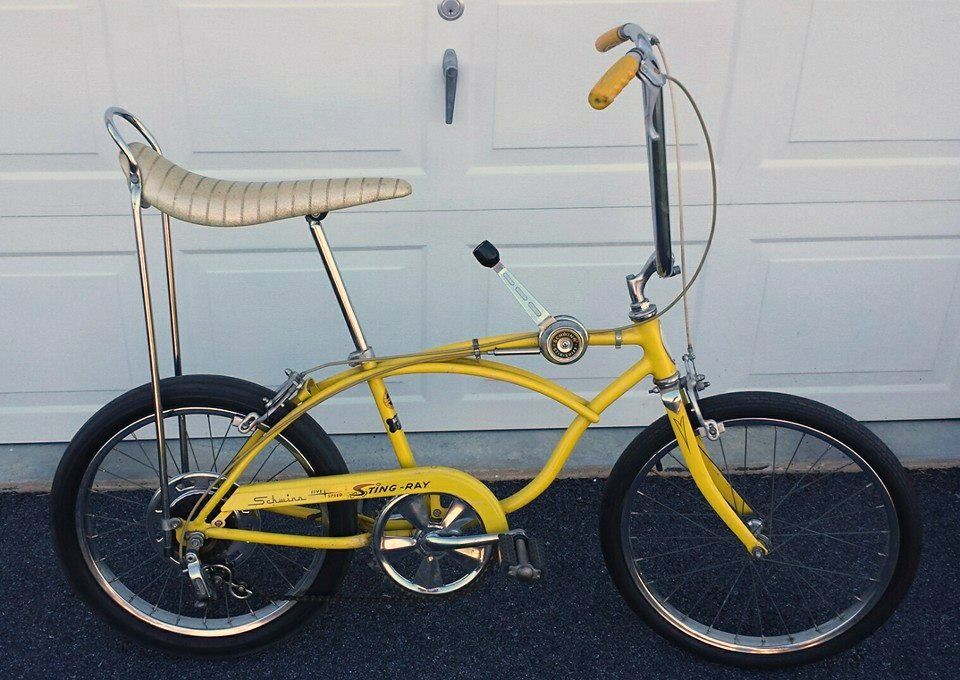 917230597a7 the greatest bike I ever had - Schwinn Stingray 5 speed with stick shift,  chopper handle bars, a banana seat and a sissy bar!