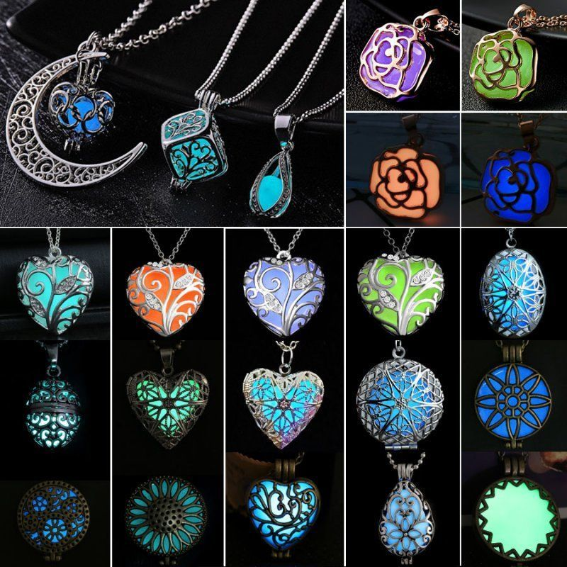 Luminous Crystal Magic Heart Hollow Locket Glow In The Dark Pendant Necklace New