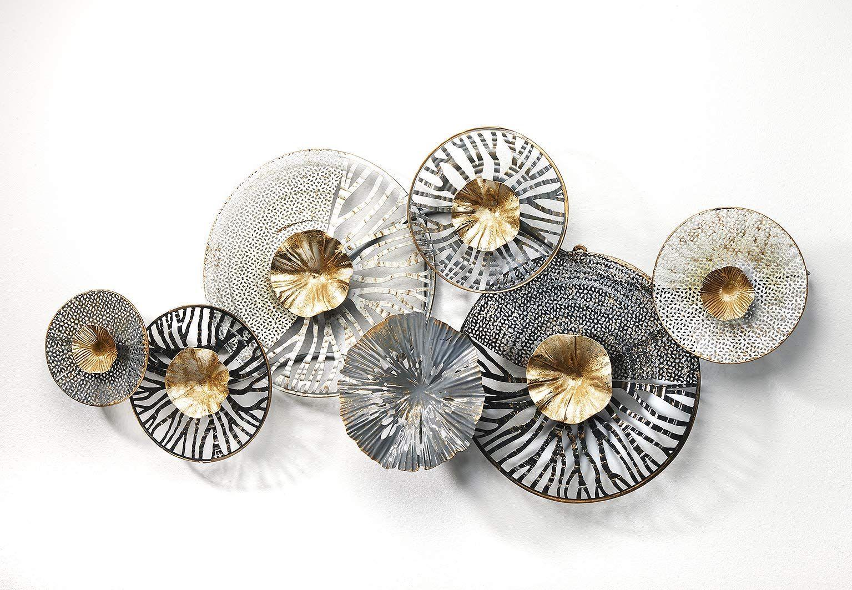amazon de kobolo wandbild metallbild 3d bild roots metall anthrazit silber gold ca 105x50 cm deko bilder wanddekoration stoff schwarz