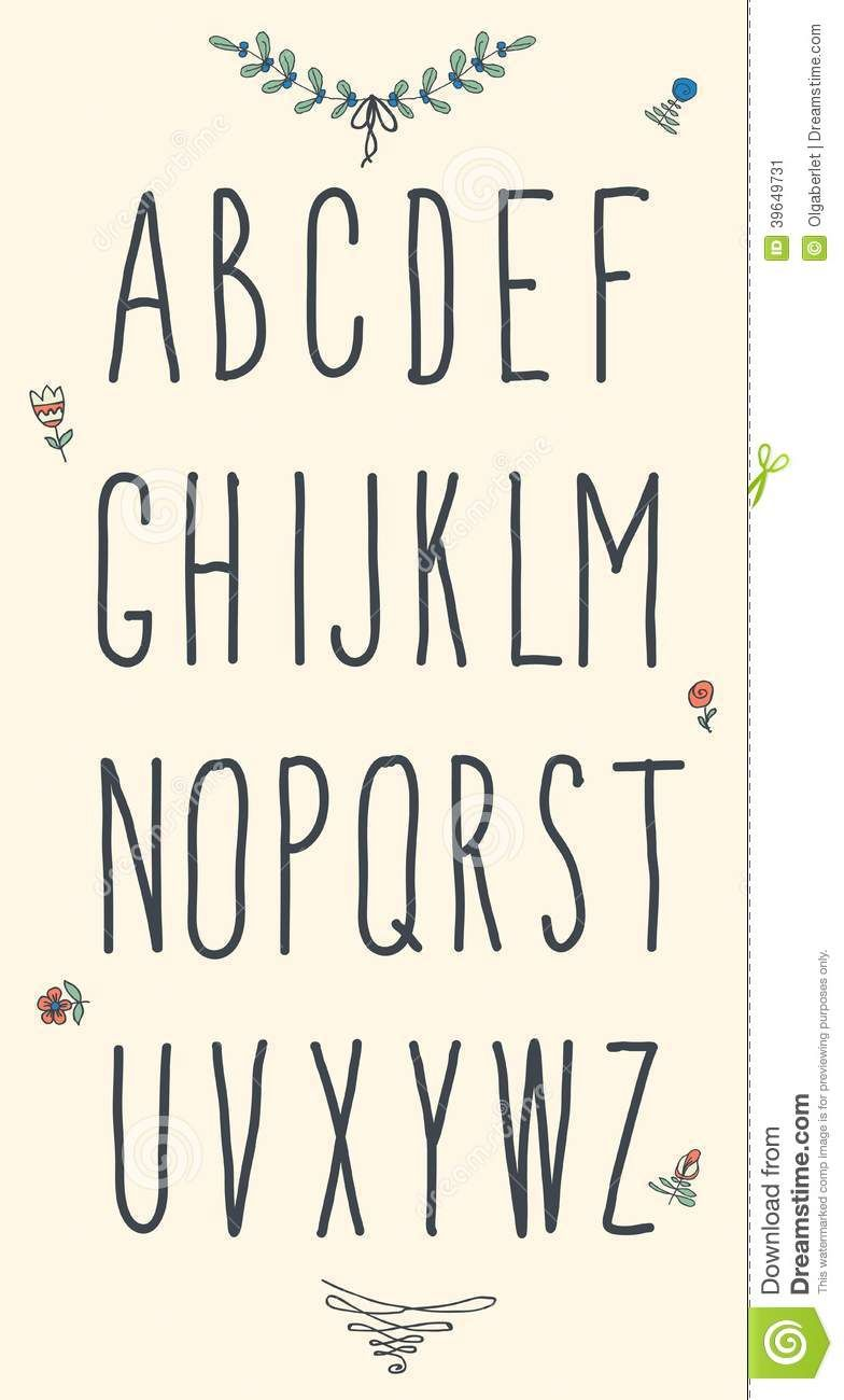 Hand Drawn Sketch Alphabet Handwritten Font Isolated White