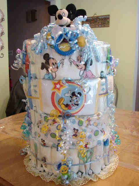 Disney Baby Shower Favors   Baby Shower Favors Gifts Diaper Cake Disney  Mickey Mouse