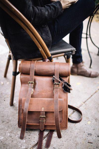 Men/'s Real Leather Backpack Laptop Bag Large Hiking Travel Camping Rucksack New