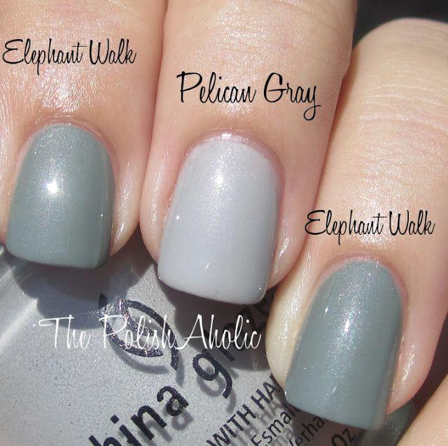 China Glaze Grey Nail Polish: China Glaze Elephant Walk Vs China Glaze Pelican Gray