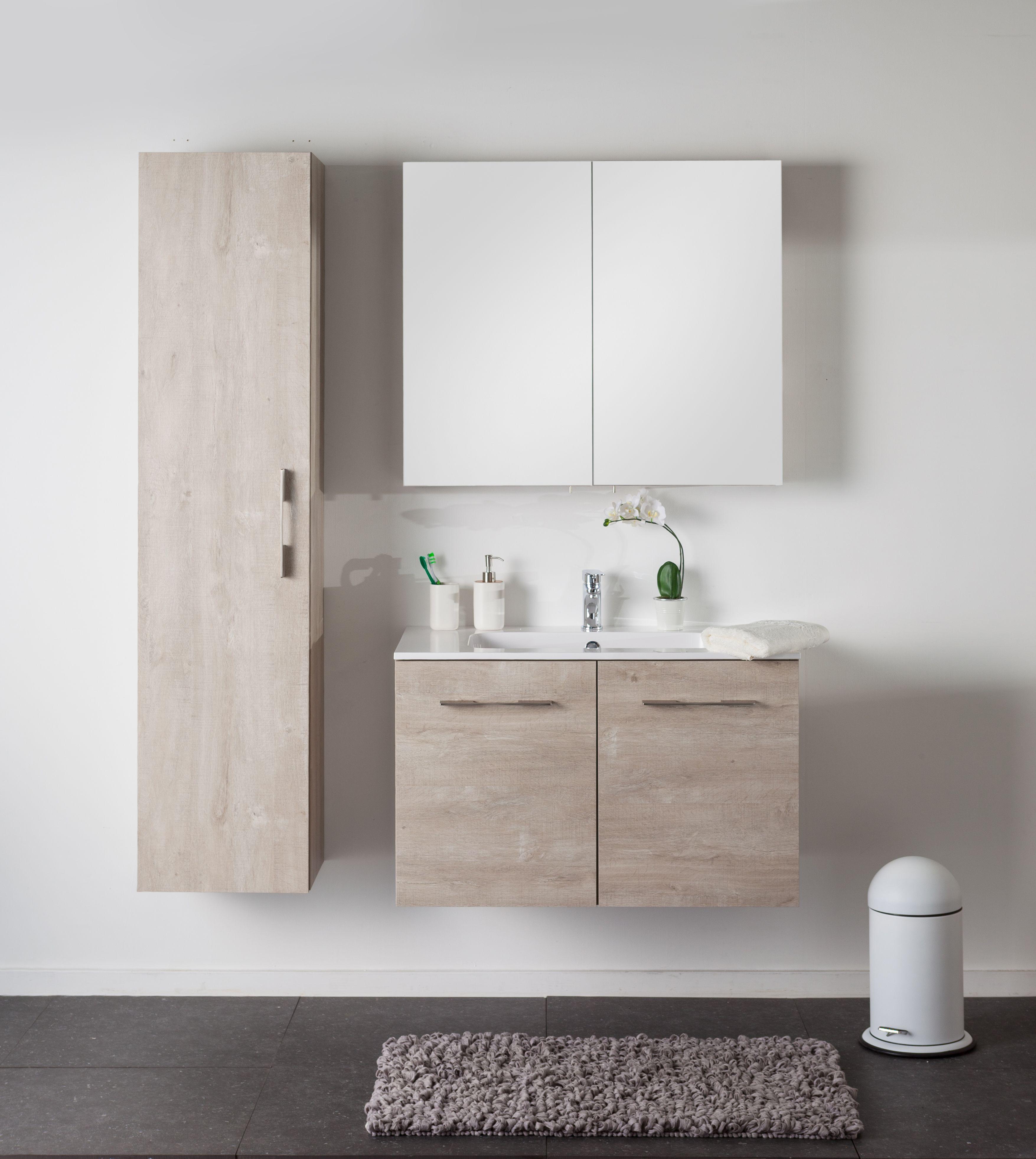 badkamermeubel dante eik betonlook enkel 2 deuren tijdloze