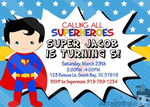 Superman Birthday Invitation Personalized Superman Invite