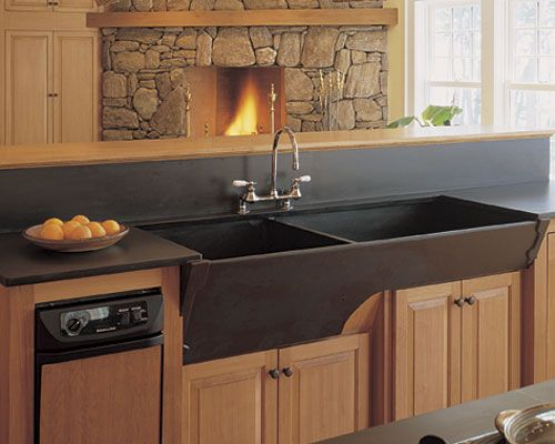 mmmmm soapstone sink! ooh! and a kitchen with a fireplace