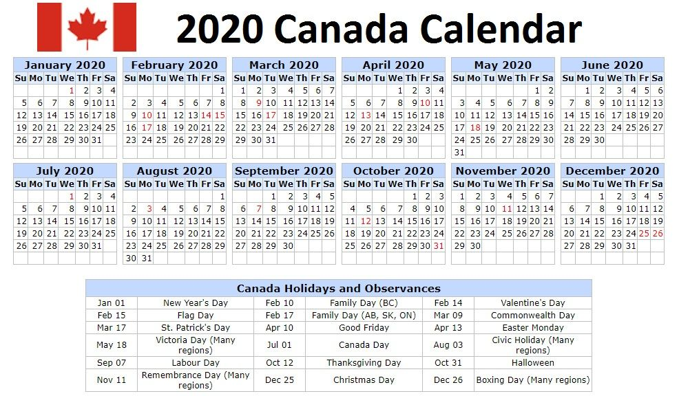 January 2020 Calendar Canada With National Bank And Public Holidays Holiday Calendar Printable Holiday Words School Holiday Calendar