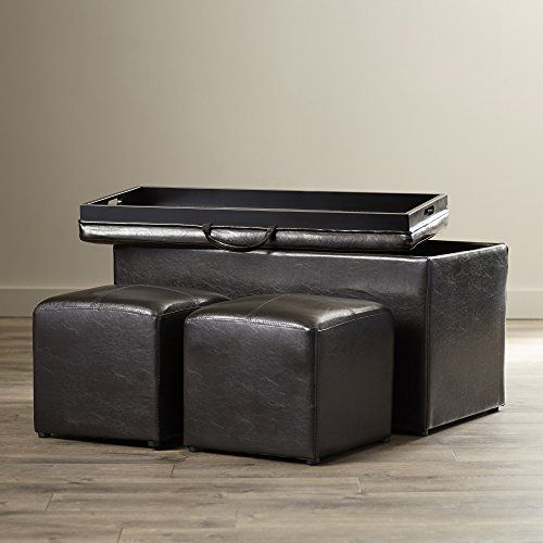 Storage Ottoman Set Faux Leather Upholstered 3 Piece Build In Hardwood Tray 1 Bench And 2 Square Cube Ottomans Espresso