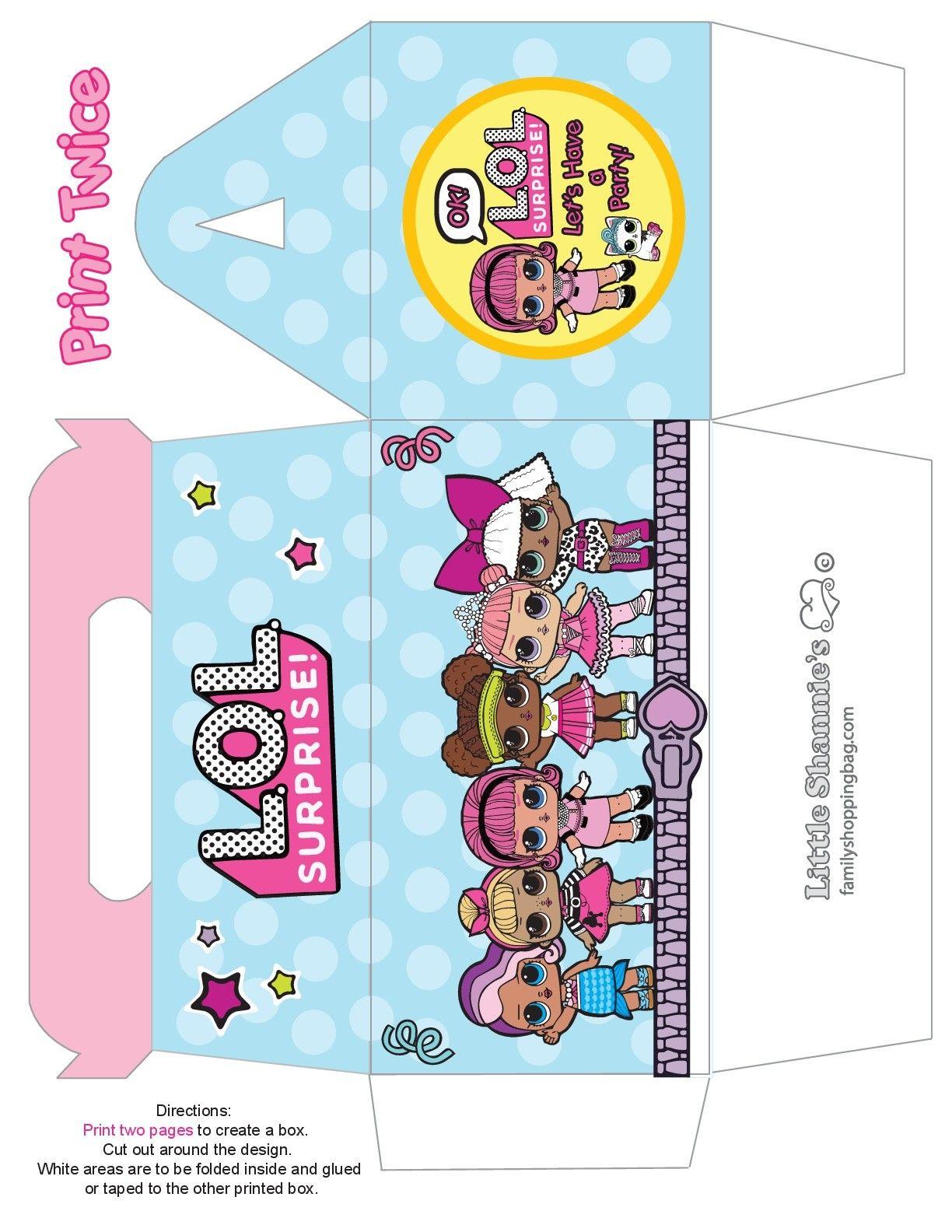 Free printable LOL Surprise favor bag purse template | LOL Surprise
