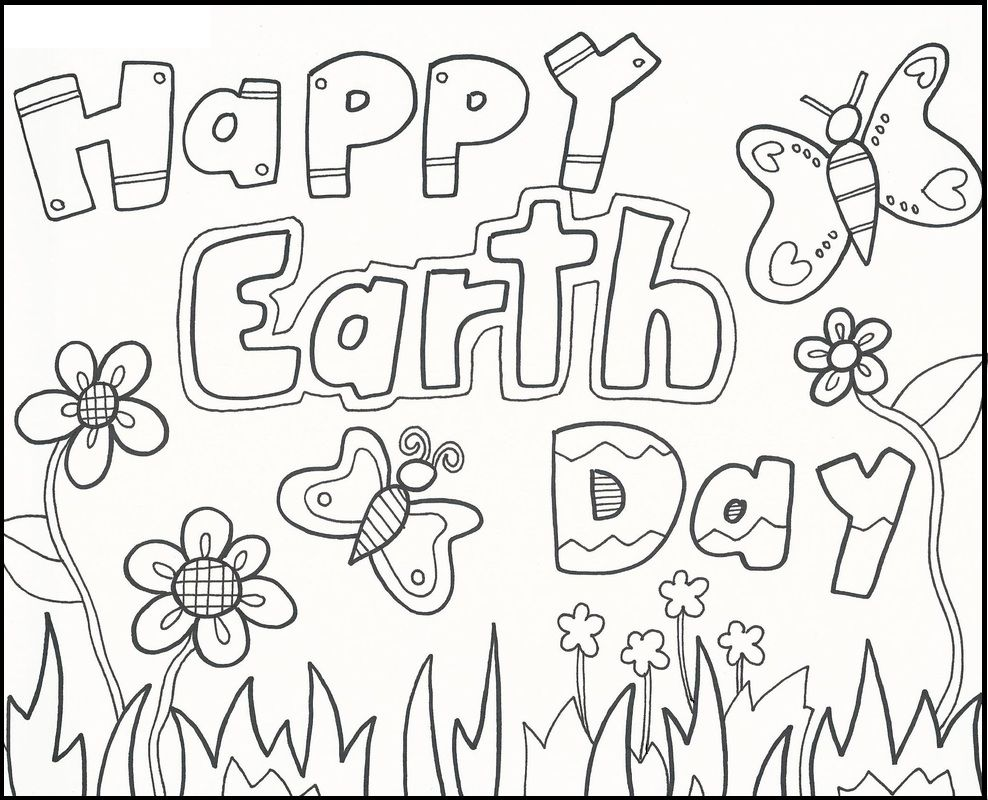 Free coloring pages earth day - Happy Earth Day Greeting Cards Coloring Picture For Kids