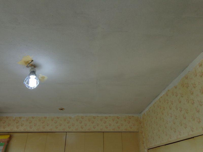天井の下地塗りが完成 仕上げではありません 壁塗り工事 流れ いろいろな作業紹介 塗り壁 工事 作業