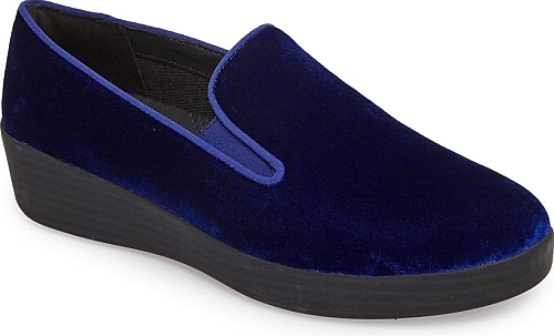 fedaaeedd656c Women s Fitflop Superskate Slip-On Sneaker in Midnight Navy. A  skate-inspired sneaker upgraded in lush velvet is grounded by an ergonomic  SupercomFF midsole ...