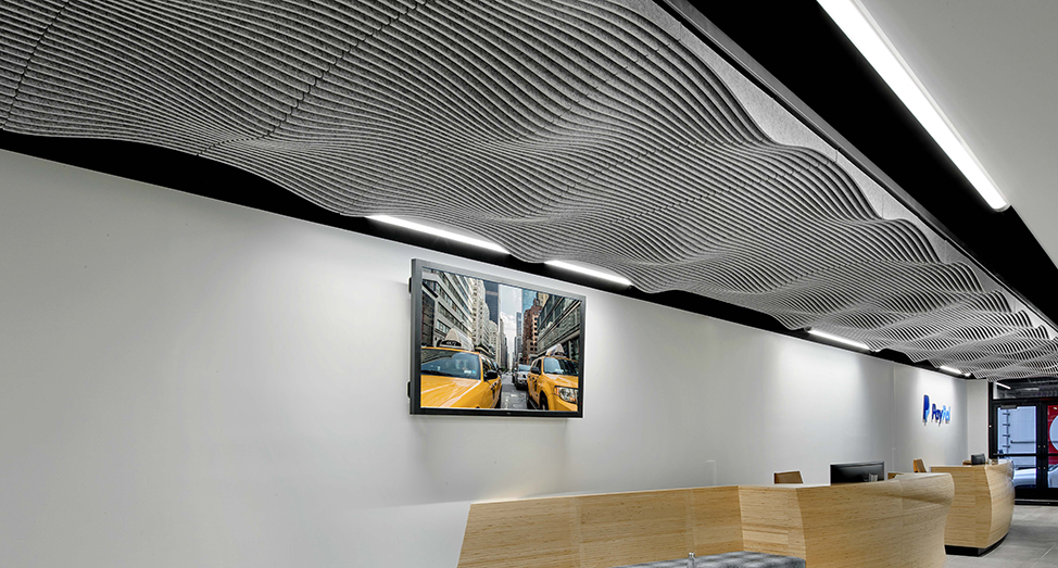 The Swell Ceiling System Is An Acoustic Drop Ceiling Tile Product Series That Tr The Swell Ceiling System In 2020 Dropped Ceiling Drop Ceiling Tiles Ceiling System