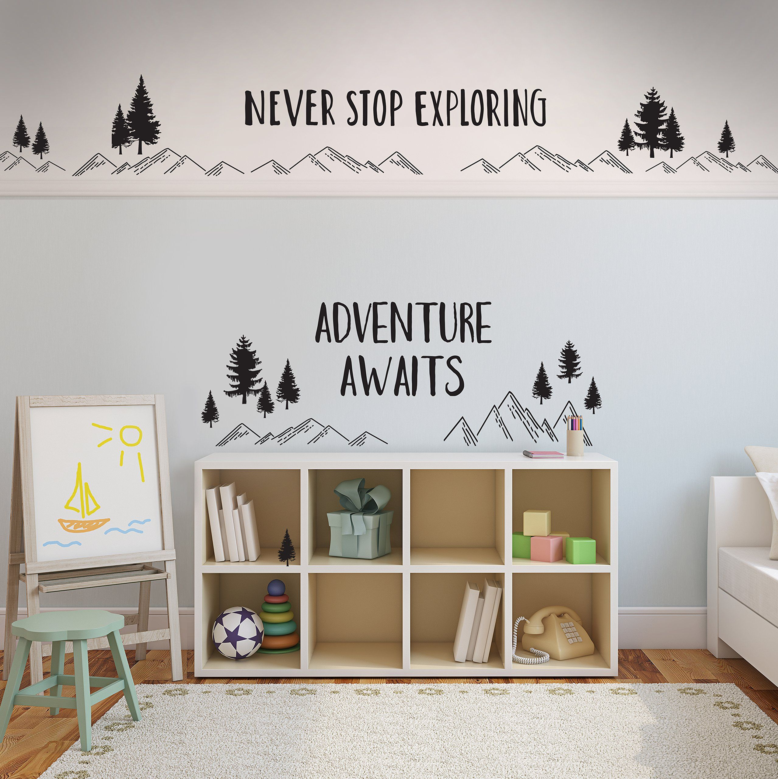 Better Than Paint E116373 Adventure Awaits Wall Art Transfer Fast And Easy Black You Can Get More Details By C Nursery Decor Playroom Storage Nursery Themes