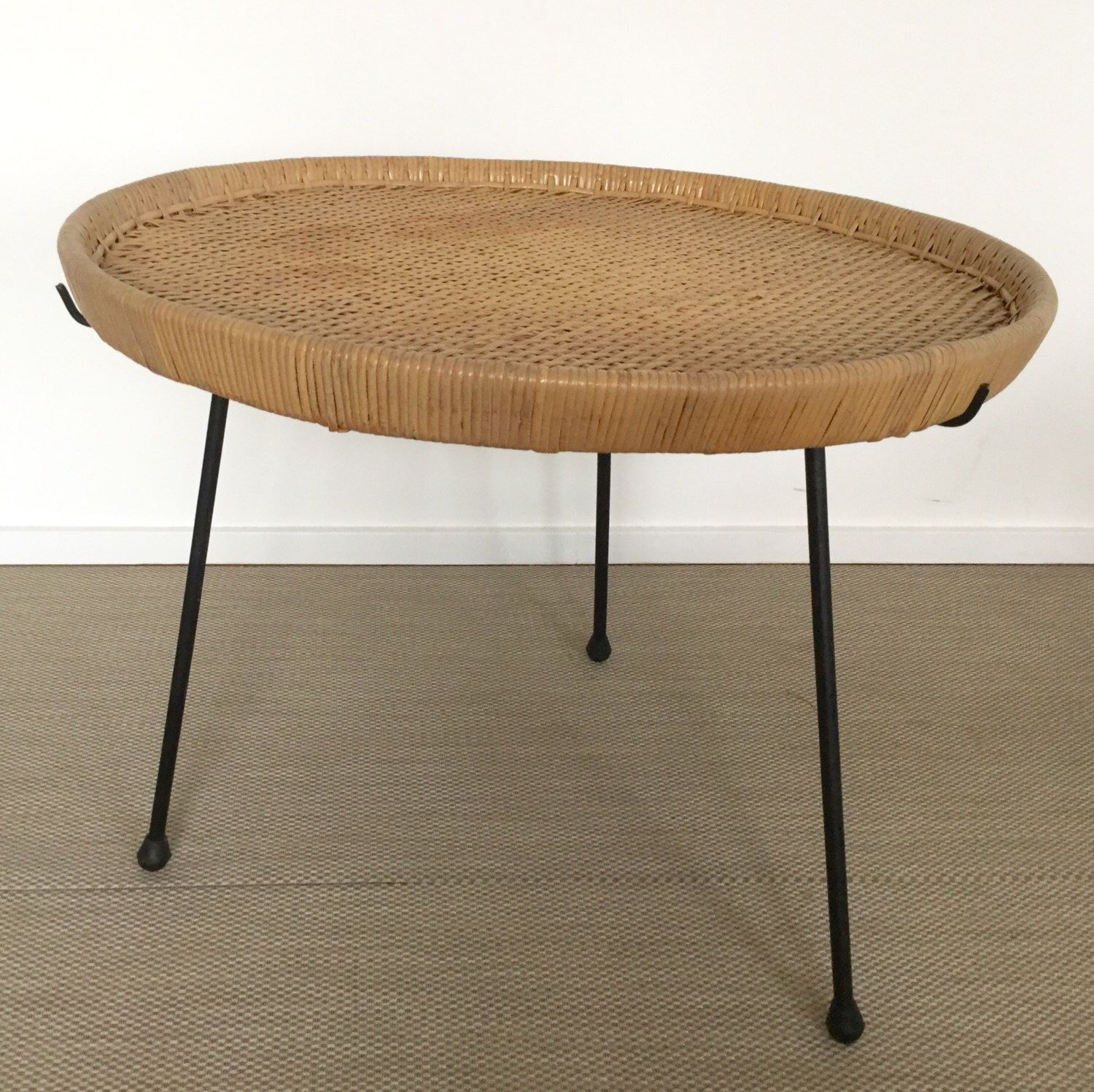 Mid century 60s rattan table Coffeetable with iron frame (Calif-Asia ...