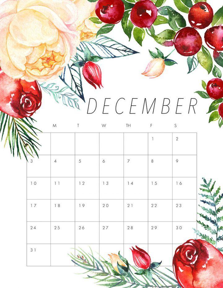 Free Printable 2017 Floral Calendar | December, Planners ...
