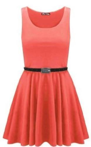 edbf4c14528 Womens Sleeveless Flared Franki Party Ladies Plus Size Skater Dress Top 8  26