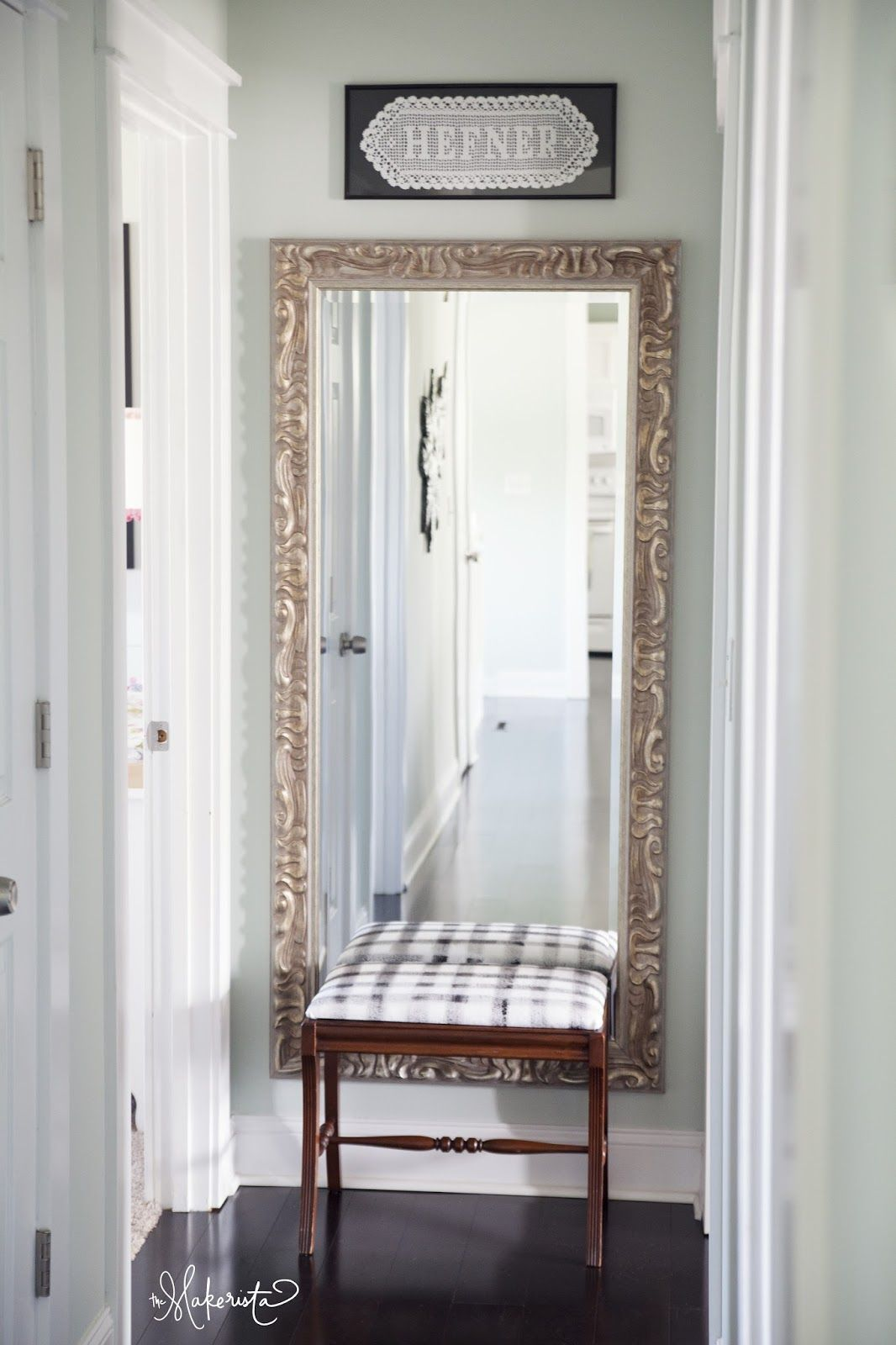 Making It Work Diy Abstract Black And White Fabric And Bench Upholstery Tutorial The Makerista Hallway Designs Narrow Hallway Decorating Hallway Wall Decor